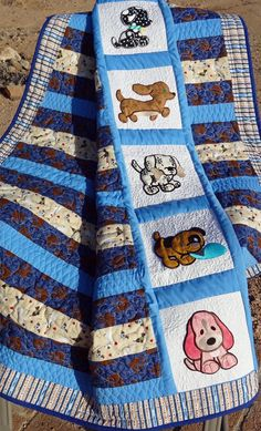 Baby or Toddler Puppy Love Quilt in Blue, Beige and Striped Fabric. Warm and Cuddley Flannel on the Back. by DesertStitching on Etsy Baby Girl Quilts, Animal Quilts, Panel Quilts, Girls Quilts, Children's Quilts, Quilt Baby, Quilt Bedding, Twin Quilt Pattern, Baby Quilt Patterns