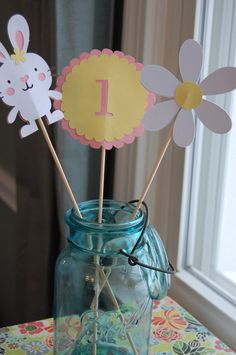 Bunny Centerpieces, Some Bunny is One, Daisy, Rabbit Theme, Bunny Theme, 9 Pcs. $20.00, via Etsy.
