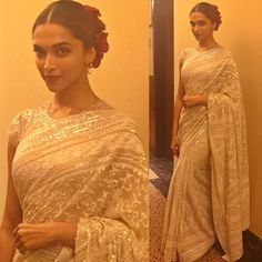 #deepikapadukone radiant look for the NDTV Indian Of The Year awards. The hint of red is a gorgeous touch! Don't you agree?