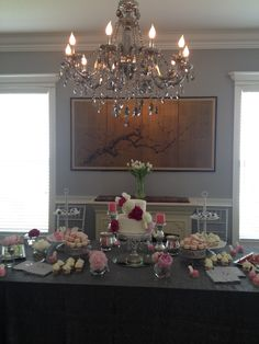 my amazing dessert table- bridal shower
