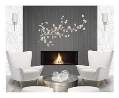 """""""Living Room in White"""" by cb-hula ❤ liked on Polyvore featuring interior, interiors, interior design, home, home decor, interior decorating, Stellar Works, Andrew Martin, RoomMates Decor and Worlds Away"""