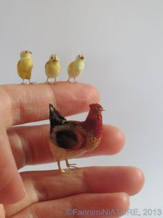 SWEET!!!!! Dollhouse Miniature Mother Hen and Chicks in 112 by FannimiNiATURE, $140.00