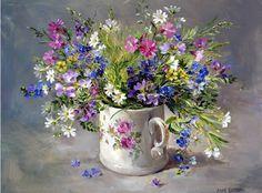 Wild Flowers in a Victorian Mug   Mill House Fine Art – Publishers of Anne Cotterill Flower Art