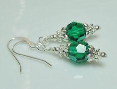 Emerald Swarovski Crystal and Silver Beaded Earrings
