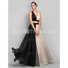 [USD $ 89.99] A-line/Princess V-neck Floor-length Chiffon Refined Evening Dress 89 with strappy back