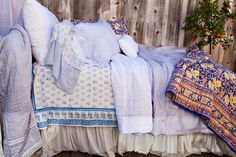 Kerry Cassill - Luxury Indian printed Bedding and Apparel — Blue Booti Duvet