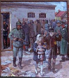 'Roundup' ~ a painting by Jan Komski  ~   People being arrested in a Polish town. Children are also the enemies of the Third Reich.