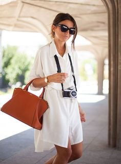 The superchic, totally non-touristy Summer vacation look perfected with a silk shirt dress.