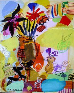 """José Manuel Merello.- """"Flores frescas de California""""  //  """"Fresh California flowers"""" (73x54 cm) Mix Media.  Bodegones y floreros en el Arte Contemporáneo. Natures Mortes Contemporaines."""