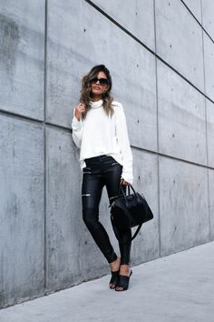 How Bloggers Style Leather Leggings Outfits Year-Round | StyleCaster