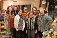 Tin Thimble students and their nuno felted scarves. We love how different each and every scarf turns out! Class Photos & Student Projects - The Tin Thimble #felt #felting #nunofelt #thetinthimble