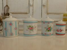 Hey, I found this really awesome Etsy listing at https://www.etsy.com/listing/155464729/cottage-flowers-kitchen-canisters-for