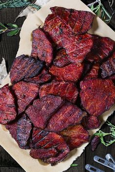 Traeger/ This homemade spicy venison jerky will make your mouth water for more. Smoky pepper and teriyaki jerky is a high protein snack that will last through hours of stalking your big game prey. Venison Jerky Recipe, Jerky Recipes, Venison Recipes, Deer Jerky Recipe Teriyaki, Spicy Jerky Recipe, Fish Jerky, Venison Steak, Teriyaki Beef, Traeger Recipes