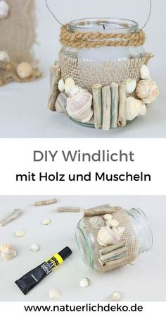 DIY lantern with wood and shells. Hanging lanterns maritime lanterns maritime candle glasses driftwood ideas driftwood decoration candles in Shell Decorations, Garden Party Decorations, Hanging Jars, Hanging Lanterns, Seashell Crafts, Beach Crafts, Diy Candles Video, Deco Marine, Garden Deco