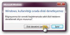 Windows 7 : Disk Hata Denetimi (chkdsk) Nedir, Nasıl Çalışır? enpedi-Windows 7