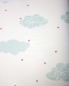 Doodle Clouds Mint Green Kids Wallpaper | designyourwall.com  Too cute with Red Quilted bedding!