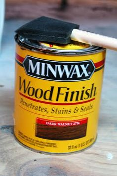 Rub On Poly & Glazing Technique - Miss Mustard Seed I use Minwax Dark Walnut wood stain to antique my furniture. You can purchase this can at Wal-Mart for about $6.00.