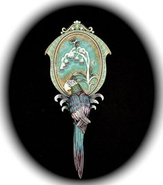 Enamel and Hand Set Austrian Crystal Hand Mirror Jeweled Parrot by Two's Company