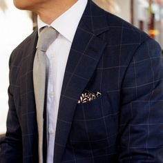 Navy blue check suit jacket