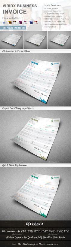 Viridx Business Invoice Template | Download: http://graphicriver.net/item/viridx-business-invoice/10282426?ref=ksioks