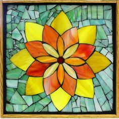 "Student Work - Framed Stained Glass Mosaic Lotus 12"" x 12"" created by Georgia in a Stained Glass Mosaic Flower Workshop with Artist Kasia Polkowska - View the list of locations and dates for Kasia's Workshops Here: http://kasiamosaicsclasses.blogspot.com/"