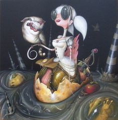 via Greg Craola Simkins Art And Illustration, Fantasy Kunst, Fantasy Art, Arte Lowbrow, Frog Art, Macabre Art, Rabbit Art, Wine Art, Pop Surrealism