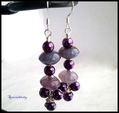 Purple and Pink Rainbow Agate Gemstone and Purple Glass Pearl Earrings | specialtivity - Jewelry on ArtFire