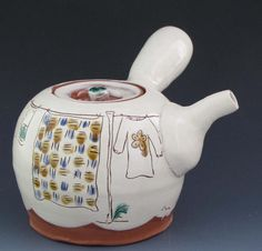 Teapot with Laundry Line TP1 by RonPhilbeckPottery on Etsy, $125.00