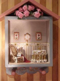Casita perchero con escena en miniatura - artesanum com