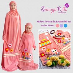 """Mau Mukena Couple Cantik dan simple....Yuk diorder di @sanayakids GRATIS JILBAB ANAK....untuk pembelian size XS dan S Yuk diborong...sebelum kehabisan…"" Kids Collection, Baby Girl Party Dresses, Muslim Dress, Hijab Tutorial, Islamic Fashion, Kids Wear, Hijab Fashion, Diy For Kids, Prayers"