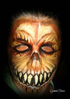 scary pumpkin face painting