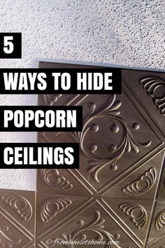 These DIY home decor ideas for covering a popcorn ceiling are AWESOME! I love these ideas! Now I know how to update the room decor in my house. #fromhousetohome #homedecorideas #roomdecor #ceilings #decoratingtips #diydecorating Faux Tin Ceiling Tiles, Fabric Ceiling, Ceiling Decor, Ceiling Design, Covering Popcorn Ceiling, Removing Popcorn Ceiling, Installing Curtain Rods, Diy On A Budget, Decorating On A Budget