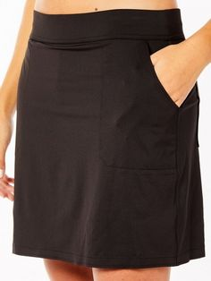 "If you're in the market for some new outfits, consider our women's apparel! Shop this comfortable and stylish BILTMORE Onyx Belyn Key Ladies Keystone Jersey 17.5"" Outseam Pull On Golf Skort from Lori's Golf Shoppe."