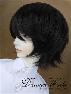 "1/3 8-9"" Dal.Pullip.BJD.SD LUTS supper dollfie Doll black short wig hair 22-24"