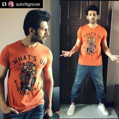 ・・・ ・・・ kaartik Aaryavardhan quirky much in this slogan tee jogger's for promotions Styled by Assisted by Bollywood Photos, Bollywood Stars, Bollywood Celebrities, King Of My Heart, King Of Hearts, Cute Actors, Slogan Tee, Dream Guy, Favorite Person