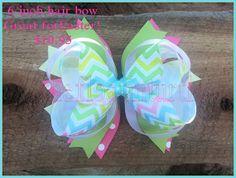 Easter bow Chevron Easter Bow Hair Bows Over the top Hiar Bow Hand made Hair bow 6 inch Hair Bow
