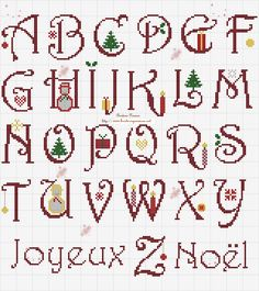 This particular photo is definitely an inspiring and fantastic idea Christmas Cross Stitch Alphabet, Cross Stitch Alphabet Patterns, Xmas Cross Stitch, Cross Stitch Letters, Cross Stitch Borders, Cross Stitch Charts, Cross Stitch Designs, Cross Stitching, Cross Stitch Embroidery