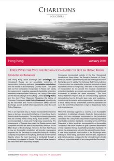 Hong Kong Law Newsletter - 15 January 2016 - HKEx Paves the Way for Russian Companies to List in Hong Kong