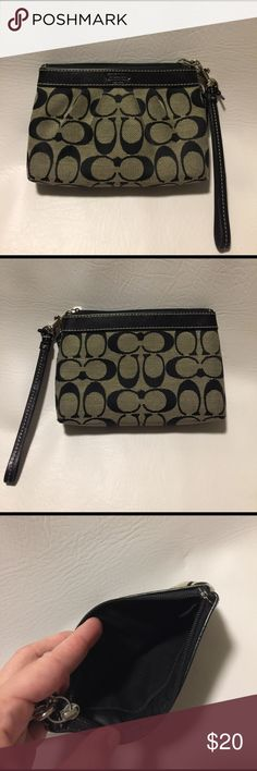 """Coach Gray and Black Wristlet! Such a cute wristlet! Authentic Coach and in good preloaded condition. Measurements are approx 6.75"""" x 4.75"""" x 1"""". Lovely gray and black background with black logos embroidery.  Leather trim at top by super and detachable leather wristlet strap. Has Coach tag as well. Minor signs of wear include a little scratch on the leather (pic 4), light wear on bottom (pic 5), dark spot on the side, and blue mark on the front bottom (last two spots are shown in 6th pic)…"""