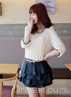 Korean Style Sweet Round Neckline  Blouse
