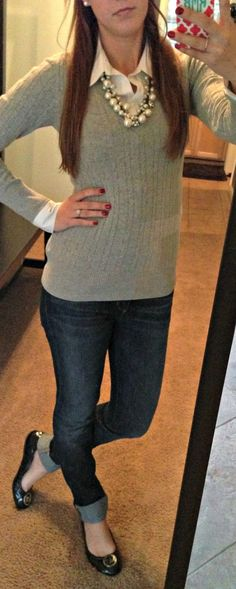 Preppy outfit: sweater, pearls, Michael Kors flats