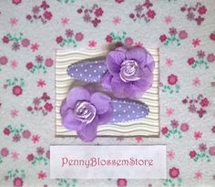 Handmade set fabric flower hair clips by PennyBlossemStore on Etsy. Hairpin, Hairclip, haarspeldje, pennyblossemstore, etsy, te koop.