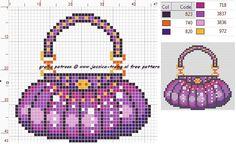Purple Purse Cross Stitch or Perler Bead Pattern