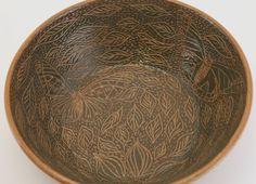 Wheel Thrown Stoneware Pottery Sgraffito Carved Bowl Green