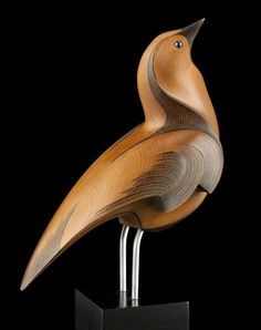 Swainson's Thrush by Rex Homan, carved in kauri wood, NZ.  (View 1)