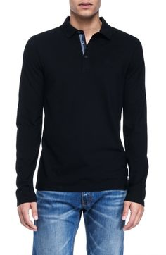 Armani Exchange Mens Long Sleeve Basic Pique Polo: Clothing