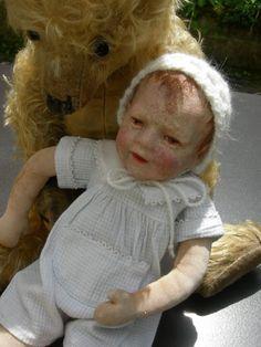 Antike alte Käthe Kathe Kruse Puppe Doll II, Schlenkerchen, ca 32cm