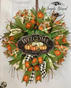 Thanksgiving Wreaths, Autumn Wreaths, Holiday Wreaths, Wreath Fall, Wreaths For Sale, Door Wreaths, Red Truck Decor, Fall Deco Mesh, Homemade Wreaths