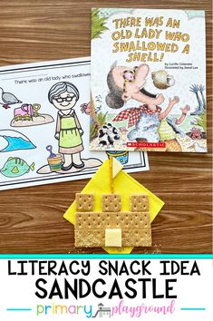 Join us for a fun summer read-aloud, There Was An Old Lady Who Swallowed A Shell! We share our snack idea and a free printable to go along with the book. #booksnack #literacysnack #kindergarten #summerreading #bookswithactivities