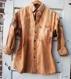 Rust distressed vintage flannel with olive accents